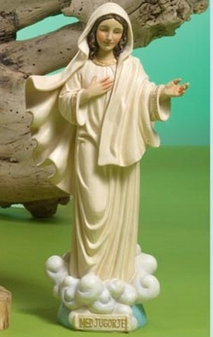 Paben Estatua Figura Virgen de Medjugorje H 21,5cm l.11de Resina pb10996