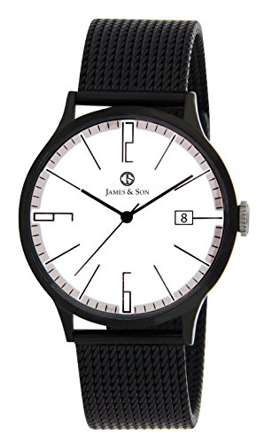 JAMES & SON Herren Analog Quarz Uhr mit Edelstahl Armband JAS10003-901