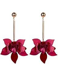 4a192585b708 YUJUEE Aretes para Niña Moda Colgantes De Oro De Pendientes De Flor Rosa  Acrílico para Joyería