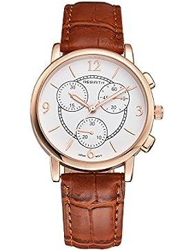 schöne Art und Weise Uhr der Frauen mit braunem Lederband arabischen Ziffern zeigt Quarzuhr für große Männer