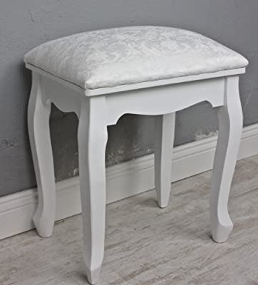 Stool Floral White Country House Style Dressing Table Stool Upholstered Dressing Stool