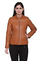 Trufit Full Sleeves Solid Womens Tan Leather PU Biker Jacket