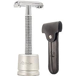 Maquinilla de afeitar de seguridad / máquina de afeitar / herramienta de afeitar / maquinilla de afeitar de los hombres de la mariposa, mango largo cromado Mariposa de doble filo de la maquinilla de afeitar abierta de seguridad maquinilla de afeitar (1 maquinilla de afeitar, 1 soporte de afeitar H3 y funda de cuero genuino 1pc)