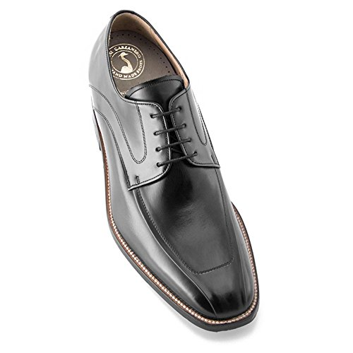 Masaltos scarpe con rialzo da uomo che aumentano l'altezza fino a 7 cm. fabbricate in pelle. modello bardolino nero 42