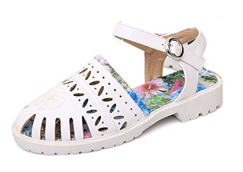 Aisun Femme Mode Bout Rond Découpée Sandales Avec Boucle Blanc