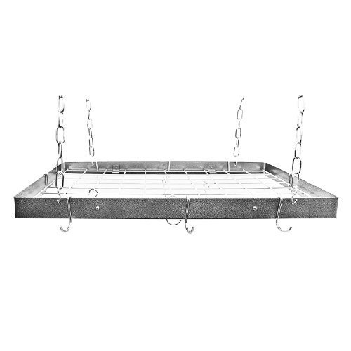 Rogar Hammered Steel Rectangular Pot Rack with Grid and Chrome Accessories 30-in. by Rogar Grid-pot-rack