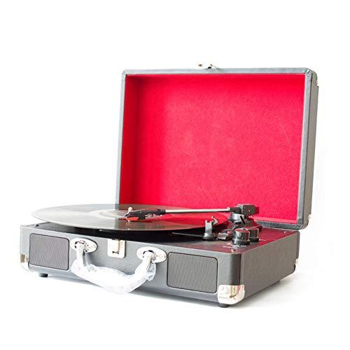 Starsou Rétro Platine Vinyle, Radio, Port USB,Type De Porte-Documents Portable, Compatible avec Disque Vinyle De Diamètre 18/25 / 30Cm, Noir