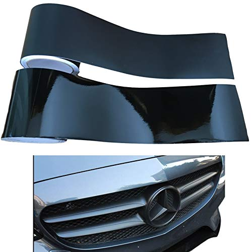 Auto-Folie 10Meter x 10cm SCHWARZ Glänzend/Matt - Folierung von Chromleisten Kühlergrill Türgriffe Chrom-Teile - Innen & Außen - SELBSTKLEBEND - einfache Montage - Dezentes Tuning (Schwarz-Metallic)