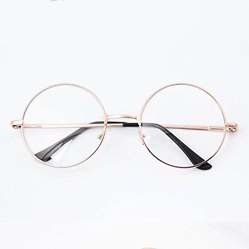Z&YQ klar Linse Gläser Flieger Spiegel Myopie Rundrahmen trendy Retro Schutzbrillen , white gold frame