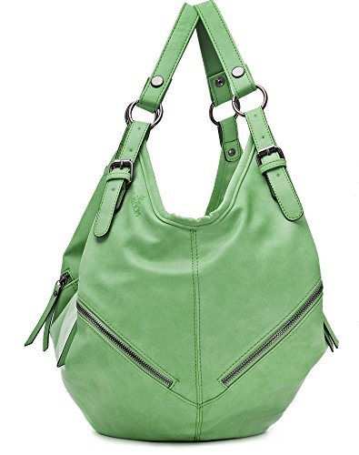 MIYA BLOOM, Damen Handtaschen, Rucksäcke, Schultertaschen, Hobo-Bags, Beuteltaschen, 37,5 x 37 x 1 cm (B x H x T), Farbe:Hellgrün Hellgrün
