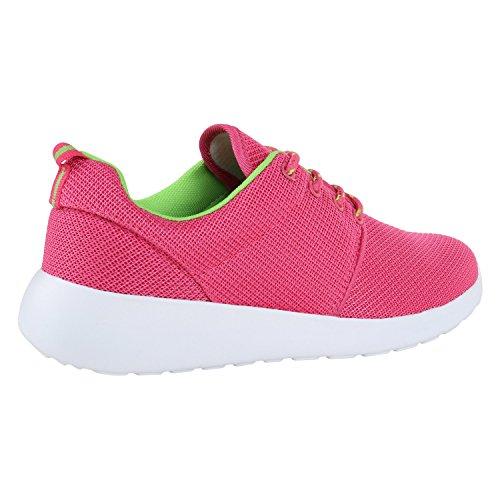 Damen Laufschuhe | Modische Sportchuhe| Sneaker Profilsohle |Glitzer Pailletten Sneakers | Runners Snake Blumen Pink Neongrün