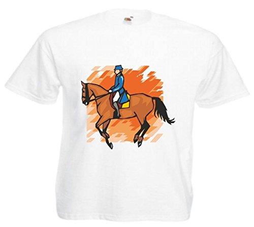 Motiv Fun T-Shirt Reitsport Pferd Dressurreiten Mega Sports Hobby Motiv Nr. 4600 Weiß