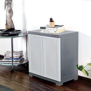 Cello Novelty Compact Plastic 2 Door Cupboard with Shelf(White and Grey)