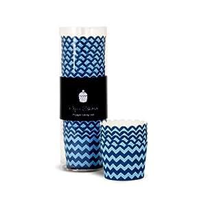 Moules à Cupcake Chevron Bleu Foncé (x25)