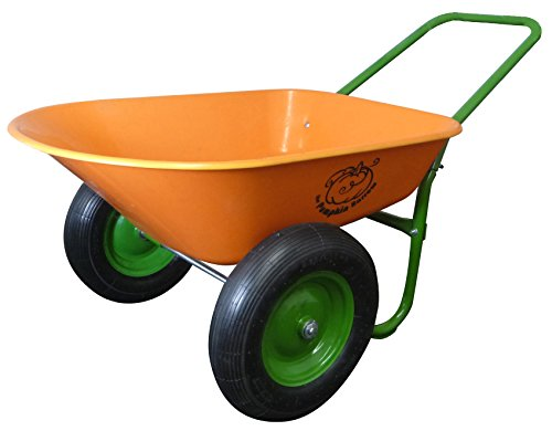 Marathon Dual-Wheel Residential Yard Rover Wheelbarrow - Pumpkin - 5 Cubic Foot Poly Tray with Flat Free Tires