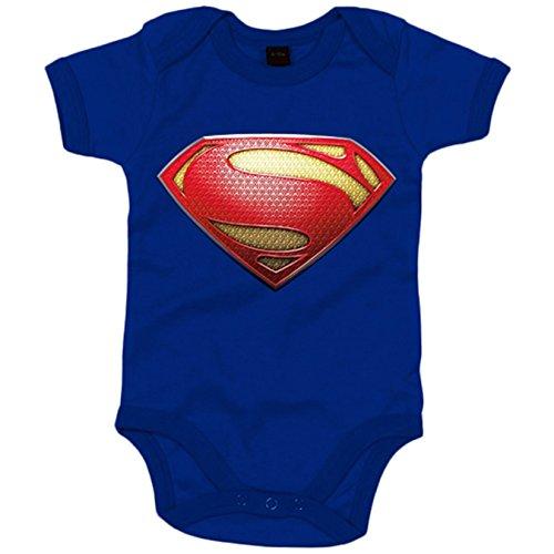 Body bebé Superman logo actual - Azul Royal, 6-12 meses
