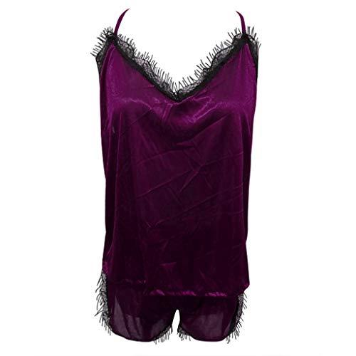 Jugendhj Frauen Nachtwäsche Sleeveless Strap Nachtwäsche Lace Trim Satin Cami Top Pyjama Sets - Mädchen Lace Trim Leggings