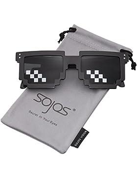 SOJOS Thug Life Gafas De Sol Mosaico 8 Bit Pixel Diversión SJ2049