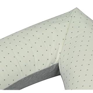 Asmi Baumwolle Stillkissenbezug mit Reißverschluss 195cm (Grau // Sterne)