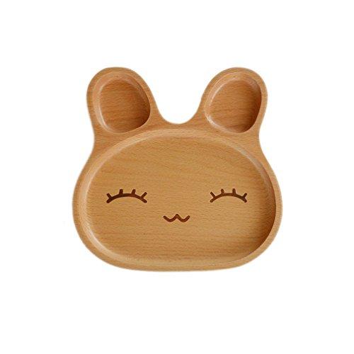 ELE GENS 1x Baby Kinder Holz Schüssel Schale Teller Dessertteller Tabletts Holzteller Kinderteller Tier Kaninchen Muster (#2)