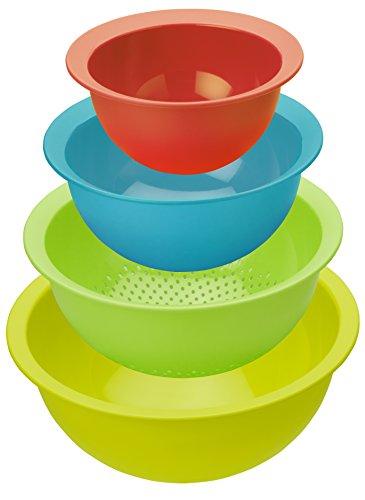 Rotho Caruba Set 3 Schüsseln und 1 Sieb, Kunststoff (BPA-frei), farbig sortiert, Volumen: 1 Liter / 2 Liter / 4.8 Liter und ein Sieb Sieb-sieb-set