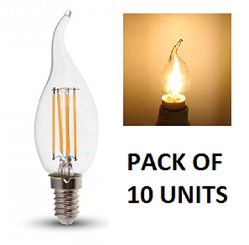 V-TAC LED filament Flame punta bombillas de vela–Pack de 10unidades–blanco cálido 2700K, E14/SES/rosca Edison pequeña–4W–/400lúmenes/vidrio acabado Look clásico incandescente/20.000horas de vida media/No regulable/230V–300Degree ángulo de haz/SKU: 4302