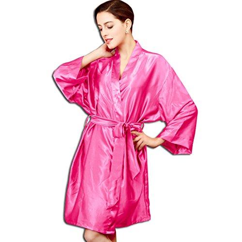 KAXIDY Damen Kimono Morgenmantel Satin Nachtwäsche Seidenrobe ...