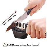 E-PRANCE Aiguiseur de Couteaux Knife Sharpener en 3 étapes: Encoche de Sable d'émeri, Tungstène acier, Céramique ,Affûteur affûtage (Noir)