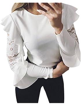 LuckyGirls Mujer Camisetas Manga Larga Cordón Volantes Color Sólido Tops Blusa Sudaderas Camisas
