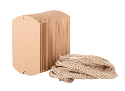 Wolfteeth 100 pz scatole portaconfetti in carta kraft con corda di canapa bomboniere conffetti per la festa matrimonio compleanno battesimo comunione