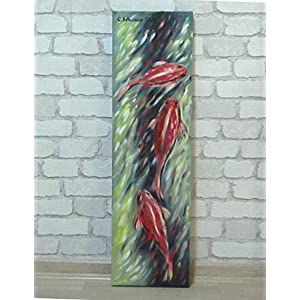 Acrylgemälde GEGEN DEN STROM abstrakt 20cm x70cm auf Leinwand
