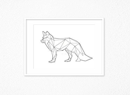 Kunstdruck/Poster FOX WALK -ungerahmt- geometrisch, Fuchs, Tier, polygon, skandinavisch, nordisch, Hipster, Linien, abstrakt (Hipster Linien)