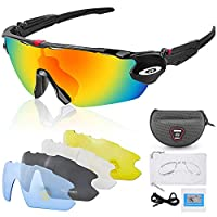 SAKUUMI Polarized Sports Sunglasses, Professional Cycling Glasses with 5 Interchangeable Lens Anti-Glare UV400 Protection for Men and Women Cycling Driving Fishing Ski Running Golf