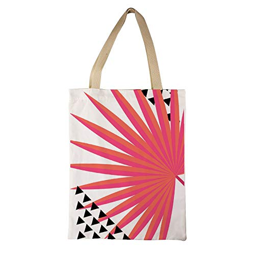 Coral Abstract Leaves Reusable And Washable Grocery Shopping Bags Handmade Canvas Tote Bag For Laptop Books Camping Travel 15 X 18 Inch (Coral Tote Bag)
