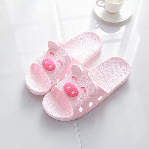 DogHaccd pantofole,Estate coppie sweet home anti-slittamento, cool pantofole estate uomini indoor home bagno doccia scarpe vassoio Rosa1