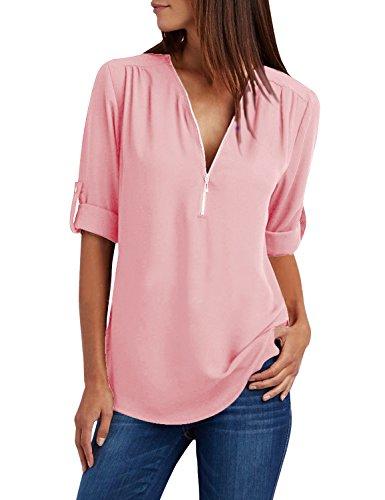 Yidarton Damen Blusen Chiffon Langarm Tunika mit Reißverschluss Vorne V-Ausschnitt Oberteile T-Shirt (Rosa, Medium)