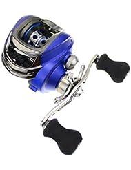 Skysper® Carrete Profesional Negro MáX Perfil Bajo Baitcasting Reel Carrete de Pesca DM120RA para Zurdos Azul