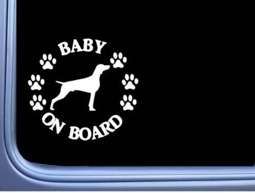 myrockshirt® Aufkleber Baby on Board Weimaraner Hund Pfoten 17 cm Autoaufkleber Auto Sticker Lack Heckscheibe Baby Bord aus Hochleistungsfolie ohne Hintergrund Profi-Qualität viele Farben zur Auswahl MADE IN GERMANY -