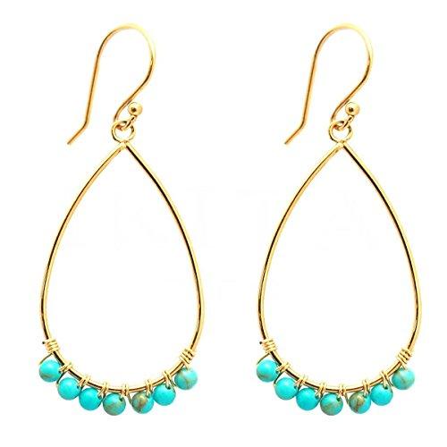 [Q1007] - Ohrringe designer stahl 'Boho' türkis vergoldet - 28x17 mm. (Designer Modeschmuck Ohrringe)