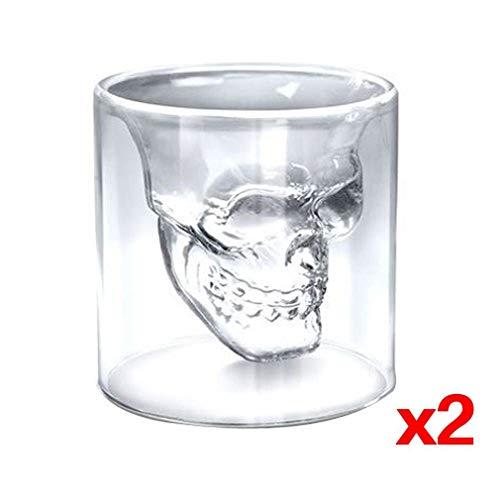 Schnapsglas mit Totenkopf, Kristallglas, für Heimbar, 2 Stück
