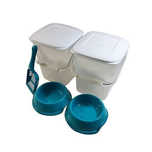 5 pièce set animal 10L RANGEMENT NOURRITURE plastique Poubelle Tube avec couvercle AN anse bleu sarcelle cuillère & BOLS