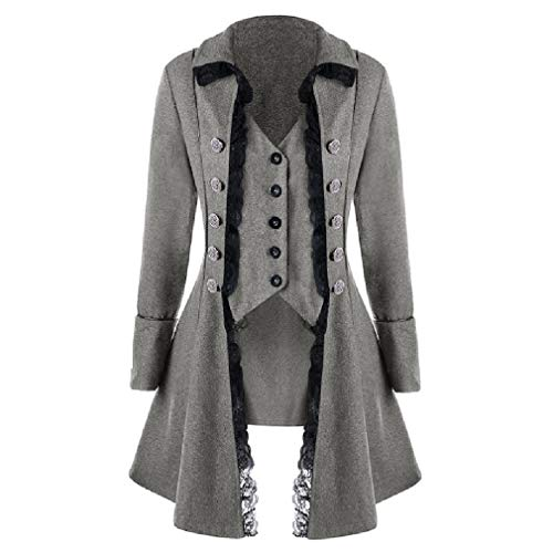 CuteRose Women's Double Button Fake Two Pieces Lace Trim Trench Swing PEA Coat Grey S Black Double-breasted Peacoat