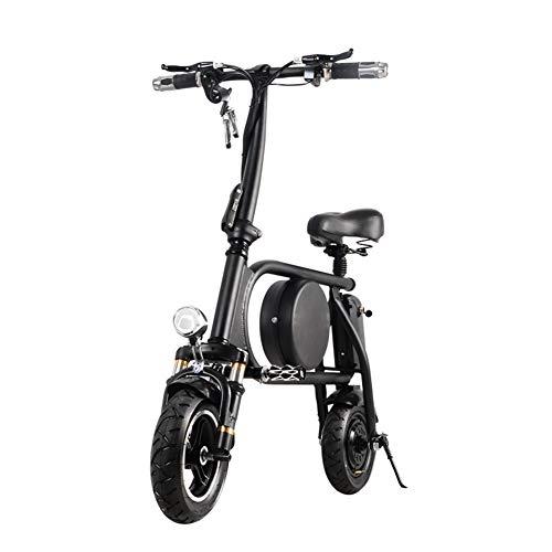H&BB Intelligent Elektrofahrräder,Tragbar Elektroauto Klapp Elektrisches Fahrrad Mit -Scheinwerfern Und One-Touch-Fernbedienung Sperren Erwachsener Pedal Elektrisches Fahrrad,Black,Battery~11Ah