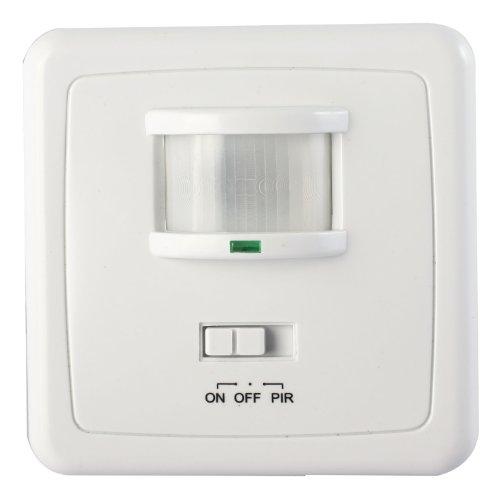 Sensore di movimento a infrarossi, da 600 W, con interruttore e luce LED, da incasso, modello 205, colore bianco