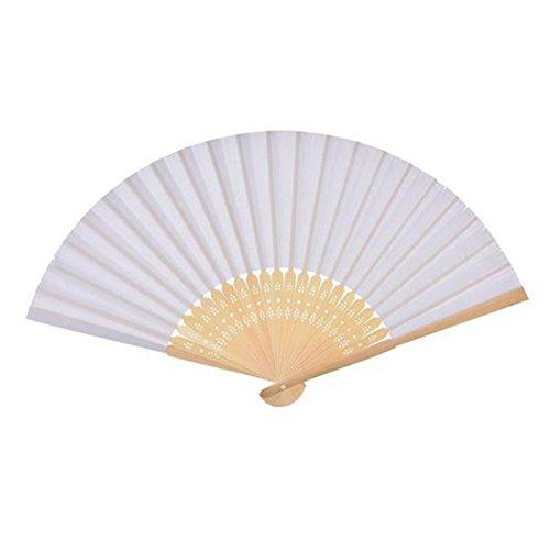 Da.Wa Abanico Plegable de Bricolaje Artesanías de Decoración Ventilador de Bambú(Blanco)