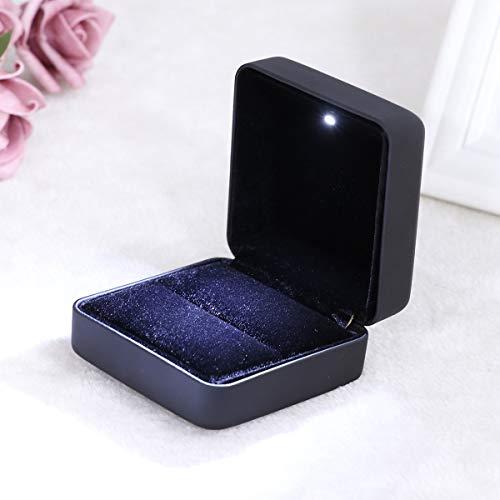 Vorcool led luce cofanetti portagioie scatola espositore per collana pendente anello (nero)