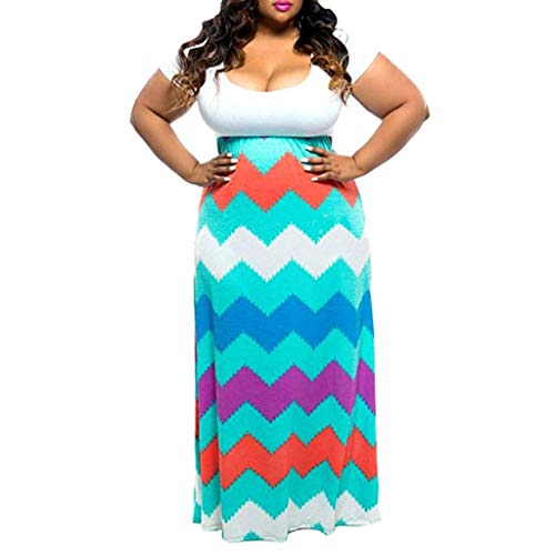 Dasongff Maxi Kleid Damen Casual Sommerkleid Kurzarm Lange Kleid Lose Strandkleider Große Größen Partykleid Boho Festliches Kleider High Waist Striped Freizeitkleid L-4XL - Multi-striped Kleid