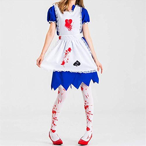 ZHAOXUAN Costume Femmes Halloween Horreur Maid Zombie Costume Effrayant Bloody White Dress Uniforme Fantaisie Vêtements Outfit pour Femme