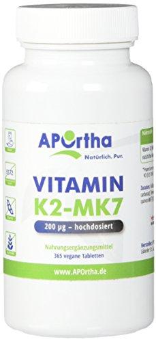 APOrtha veganes Natto Vitamin K2 – Menaquinon MK7 200 µg hochdosiert | 365 Tabletten | vegan | 95+% All Trans Menaquinone