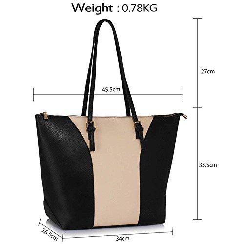 TrendStar Handtasche der Frauen faux Leder Damen Große Entwerfer-Taschen-Umhängetasche Schwarz/Nude
